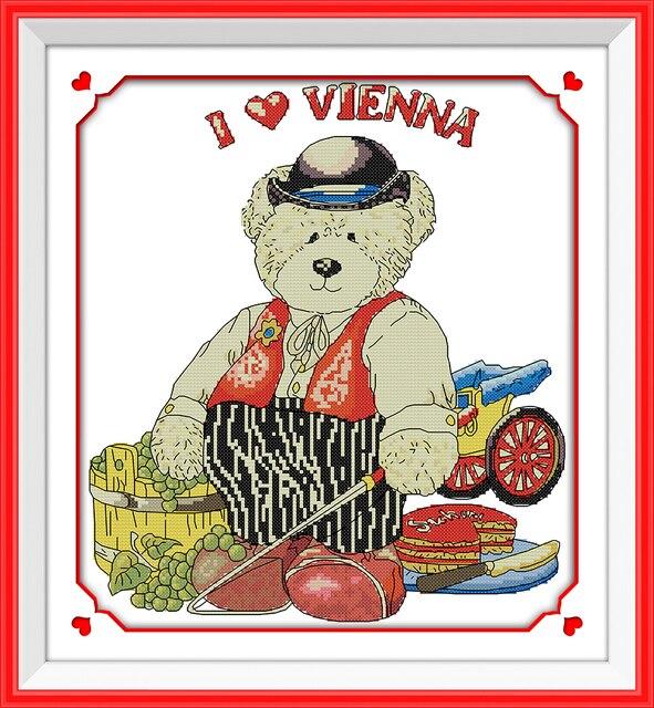 Alegría Domingo estilo de dibujos animados Sr. oso puntada en cruz ...
