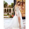 2017 New Arrival Detachable Train Short Appliques Lace Wedding Dresses Sweetheart Off The Shoulder Bridal Gown Vestido De Noiva
