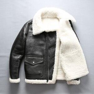 Image 2 - Mannen shearling leren jas winter piloot jas dikke Merino schapen bont jas natuurlijke witte bontjas mannen vlucht jas mannelijke