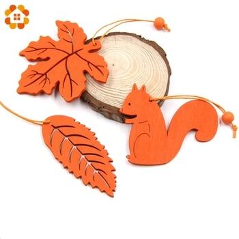 10 PCS 5 Stili possono opzione di Legno FAI DA TE Foglia di Legno Animale Sveglio Di Legno Pendenti con gemme e perle Ornamenti per La Casa Decorazione di Cerimonia Nuziale regali per bambini