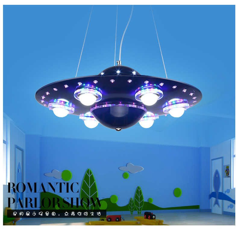 Creative UFO blue LED pendant lamps boy cartoon children bedroom lighting LED living room study lighting restaurant light za818- hghomeart children room aircraft led pendant lights antique pendant light boy bedroom eye lamp study led creative ceiling lamps