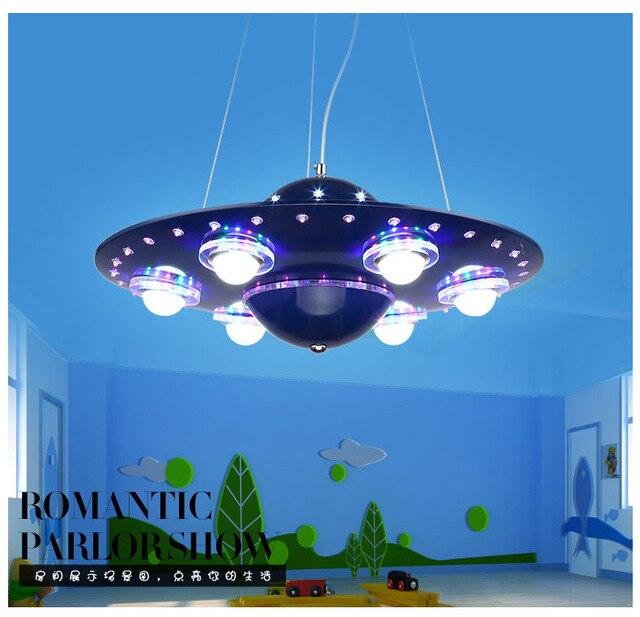 US $248.0 |Kreative UFO blau LED pendelleuchten jungen cartoon kinder  schlafzimmer beleuchtung LED wohnzimmer studie beleuchtung restaurant licht  ...