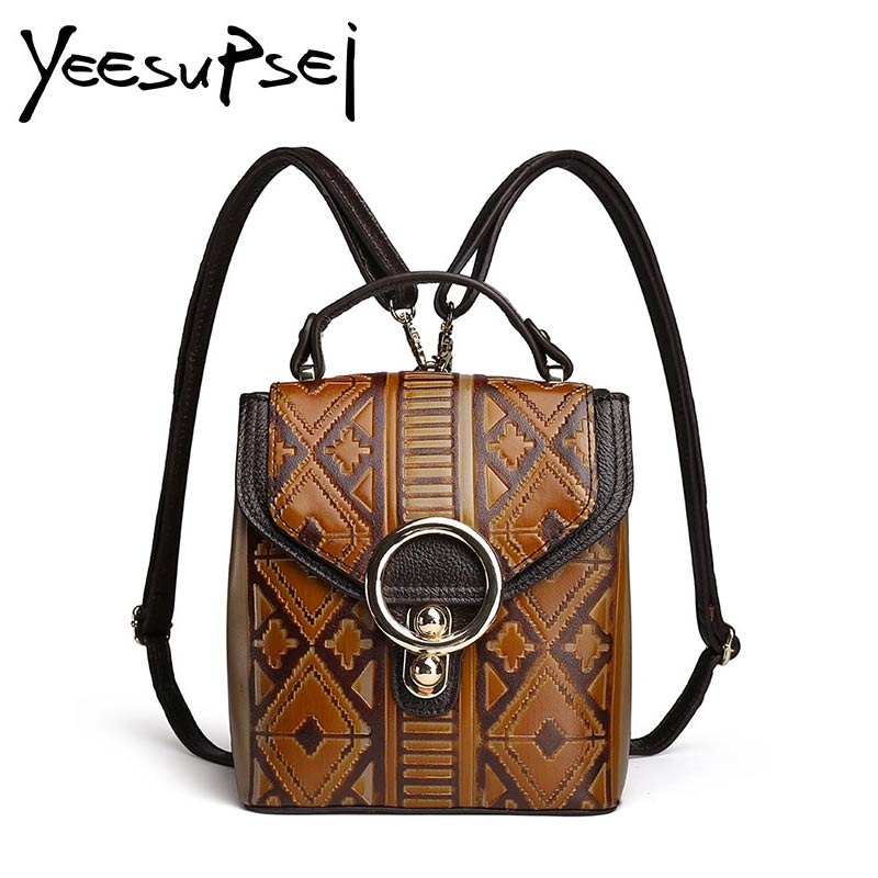 YeeSupSei Genuine Leather Backpack Women Fashion National School Bags For Teenage Girls Brown Backpack Metal Ring Sac A Dos New fashion genuine leather backpack women school bags for teenage girls backpacks high quality rivet ladies backpack sac a dos 2018
