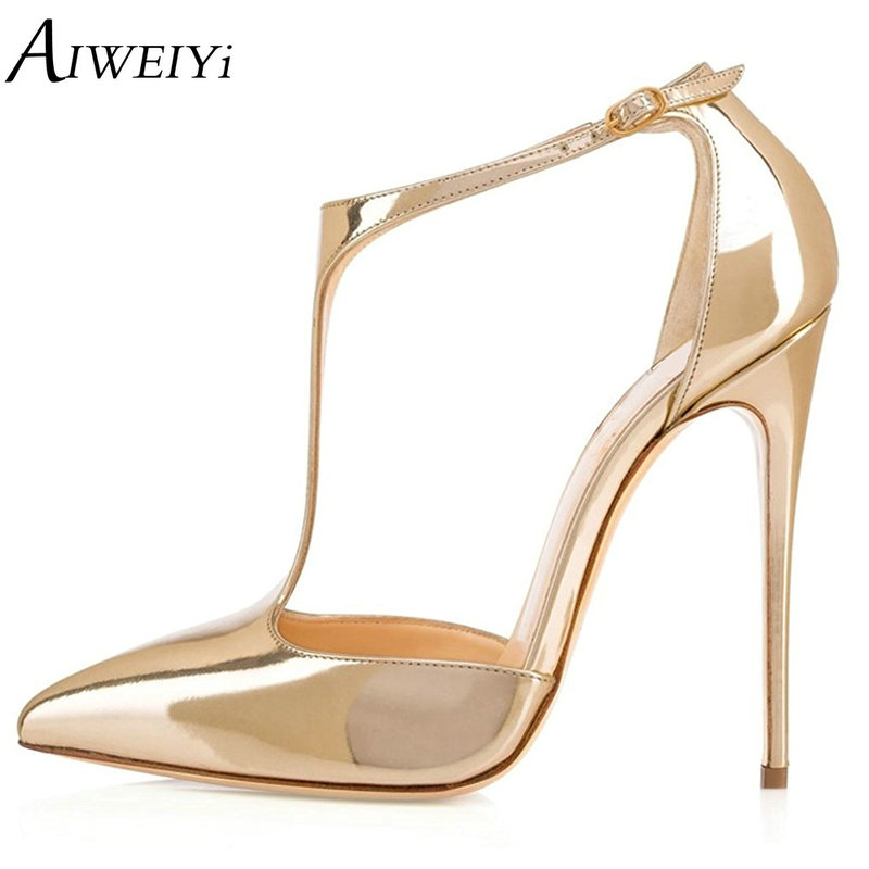 AIWEIYi Women High Heels Sandals Buckle Strap Pointed Toe Platform Pumps T-strap High Heeled Sandals Summer Shoes Woman women pointed toe buckle thin high heels red bottom sandals shoes t strap print leather plus size lady sandals 42 51 sxq0710