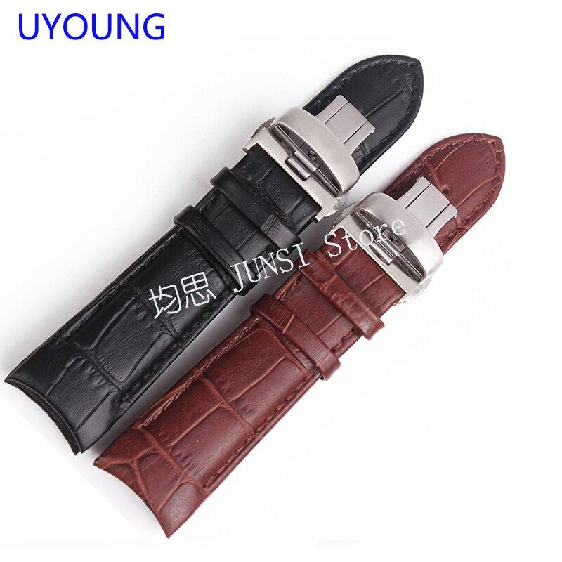 Banda de reloj UYOUNG para la serie T035 Banda de reloj de cuero genuino para hombres Accesorios de reloj negro