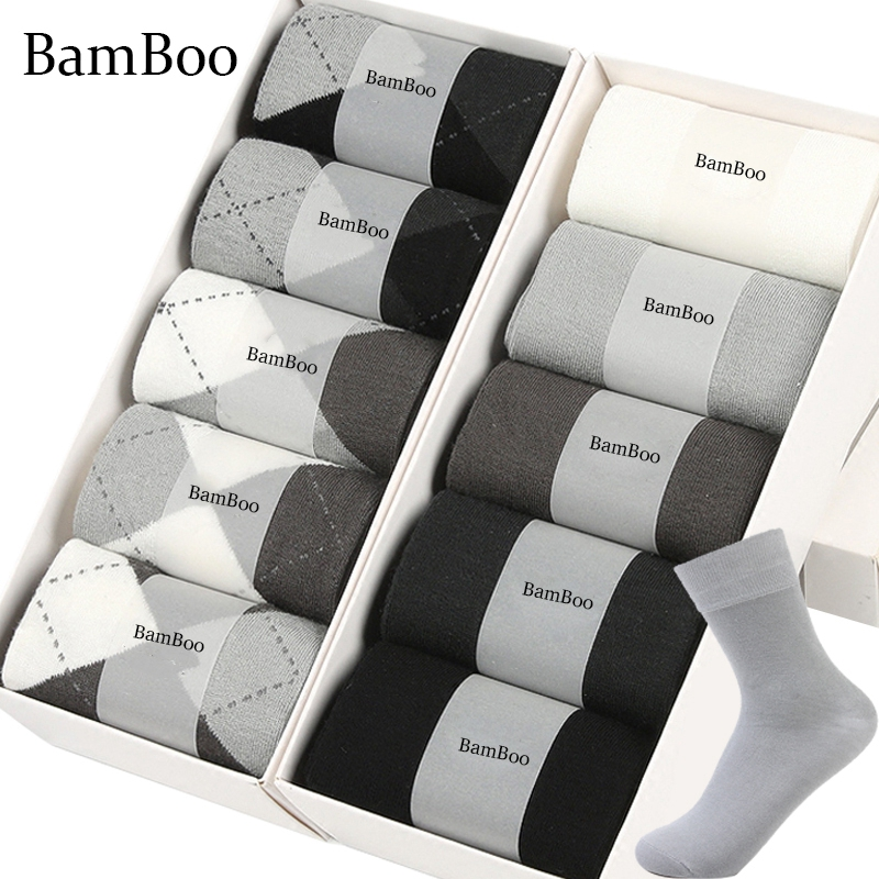 MWZHH 10 Pairs Brand New Bamboo Fiber Socks Men Business leisure Dress Socks Men's Summer Deodorization long Bamboo Socks Black(China)