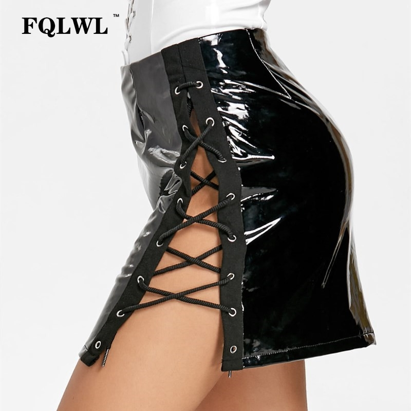 New Shiny pvc vinyl zip front mini skirt black red or white