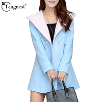 Women Long Trench Coat Outwear 2015 Winter Autumn Warm Solid Color Turn Down Collar Double Breasted
