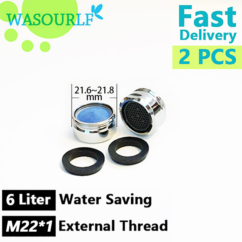WASOURLF 2PCS Water Saving Faucet Aerator 6L 22mm Male Thread External Tap Spout Accessories Bathroon Basin Kitchen Outlet