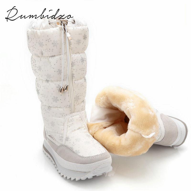 ФОТО  Rumbidzo Size 35-43 Fashion Women Boots Plush Warm Snow Boots Ladies Winter Ankle Boots Waterproof White Colour Snow Botas