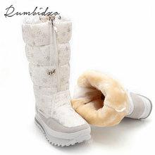 Rumbidzo Size 35-43 Fashion Women Boots Plush Warm Snow Boots Ladies Winter Ankle Boots Waterproof White Colour Snow Botas