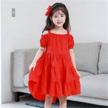 c85b8d5cd9 2019 nowy Teenage dziewczyny stałe sukienka asymetryczna dzieci lato bez  ramiączek sukienki dla dziewczynek suknie Baby Girl odz.