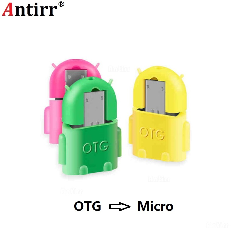 Universal Android Robot Shape Micro USB OTG Cable Adapter Mini Converter For Flash Drive Mouse Keyboard Card Reader Tablet Phone
