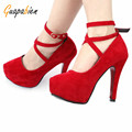 Guapabien 2017 Spring Elegant Office Career Ladies Stiletto Heel Suede Shoes Cross Ankle Strap Round Toe Shoes Thin Heels Pumps