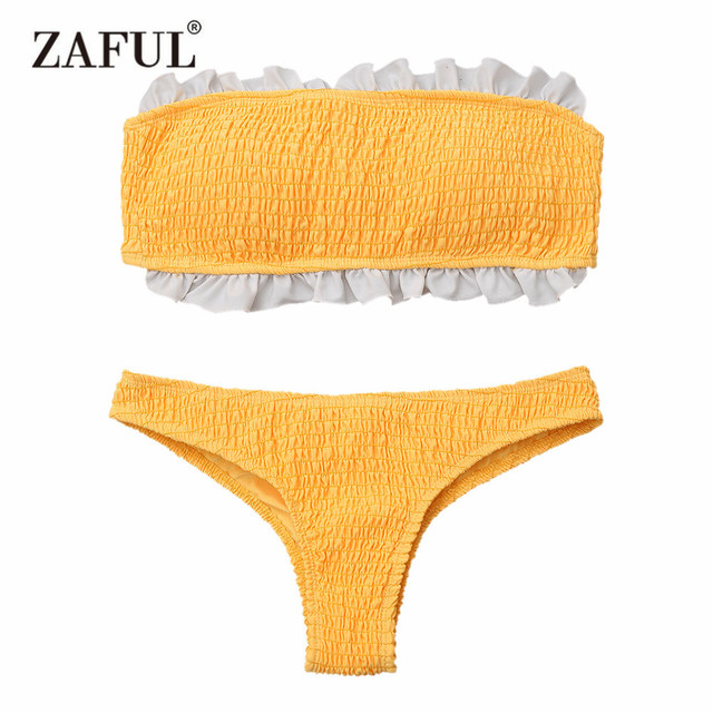 8fafb22f5d4273 ZAFUL New Bikini Ruffles Bandeau Smocked Bikini Top And Bottoms Swimwear  Women Swimsuit Strapless Two Piece Brazilian Biquni