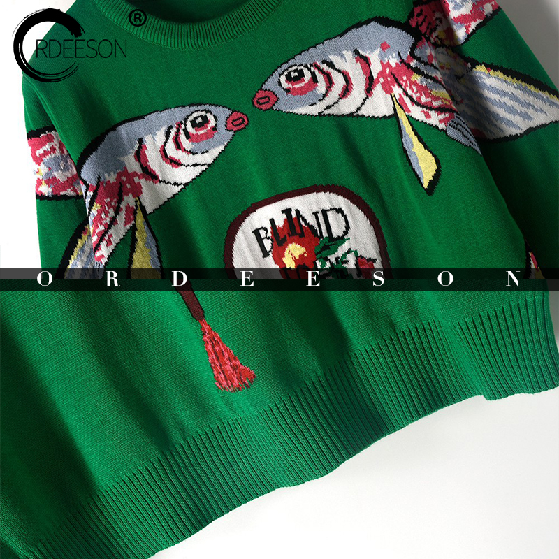 ORDEESON Thick Winter Pisces Beauty Fan Pattern Women Sweaters and Pullovers Jumper winter round neck Knitted Sweater Ugly Tops