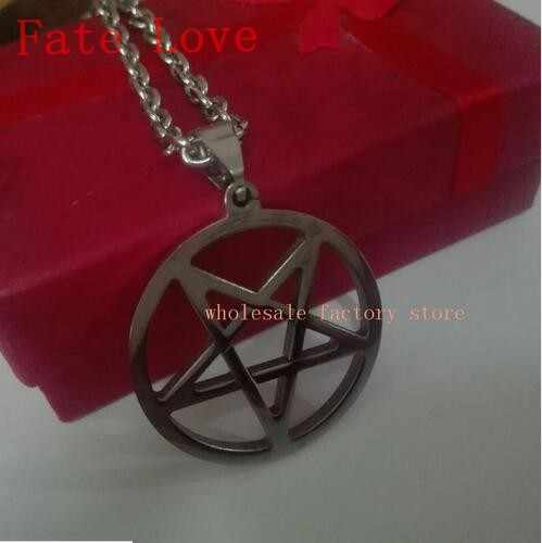Fate Love Lot of 5pcs stainless steel Silver pentagram satanic symbol Satan worship Pendant men women Necklace 24''