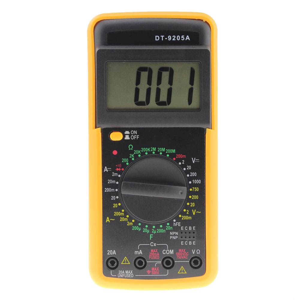 DT-9205A Digital Multimeter AC/DC Ammeter Voltmeter Volt Resistance Capacitance Tester Practical Multi-tester for Electric Test f47n multimeter pointer mechanical capacitance meter ammeter voltmeter pocket