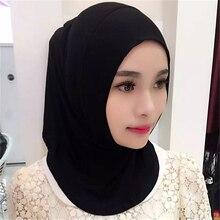Mulheres Hijab Muçulmano Algodão Completo Sobre Islâmico Underscarf Hijabs  Das Mulheres Elástico Confortável 9 Cores( b5136b68083