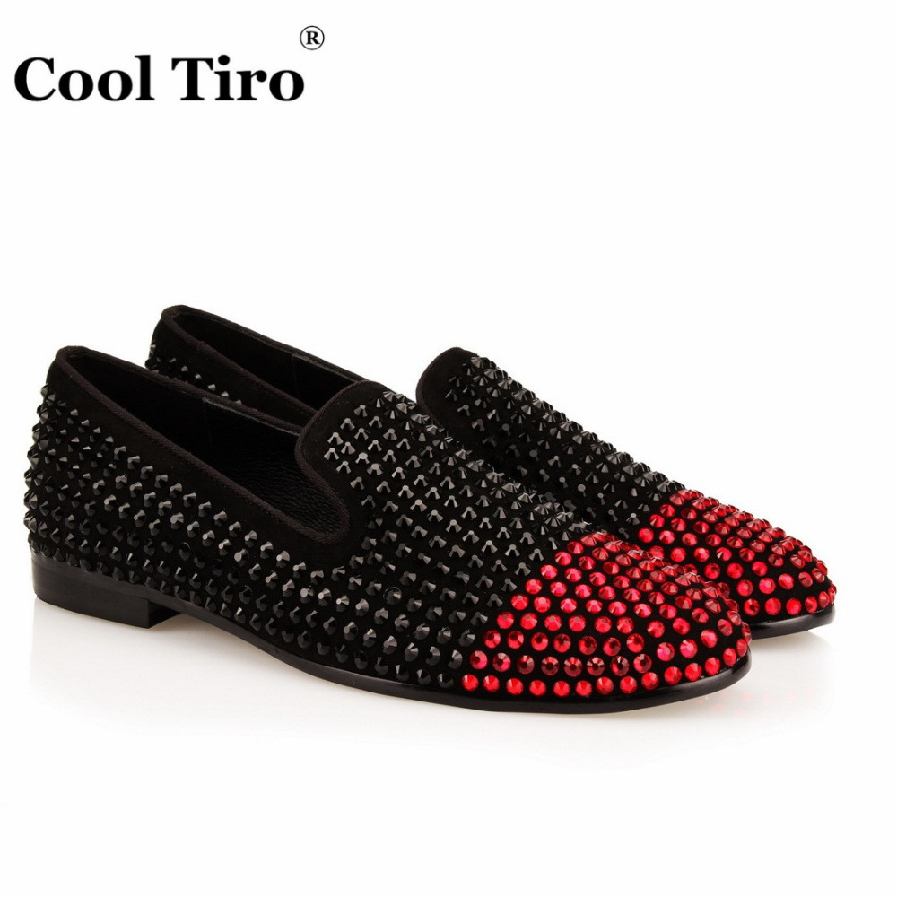 COOL TIRO Black red diamondsTwo color Handmade men party prom shoes shoes Plus size Black cow suede hot drilling flats loafers