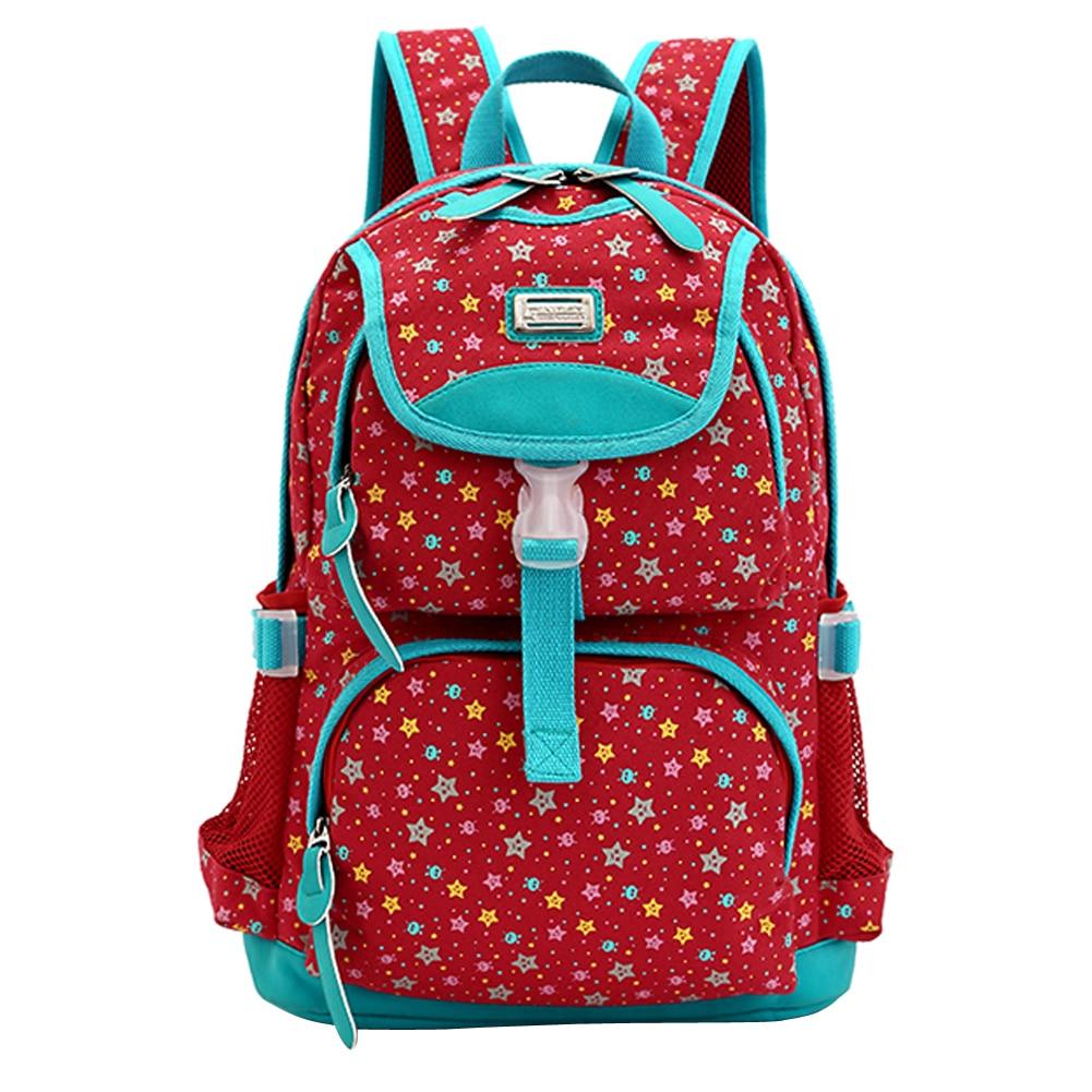 ФОТО  Preppy Style Canvas Backpack Casual Rucksack Textile Printing Bags Star Print Bookbags Vintage Backpacks for Teenage Girls