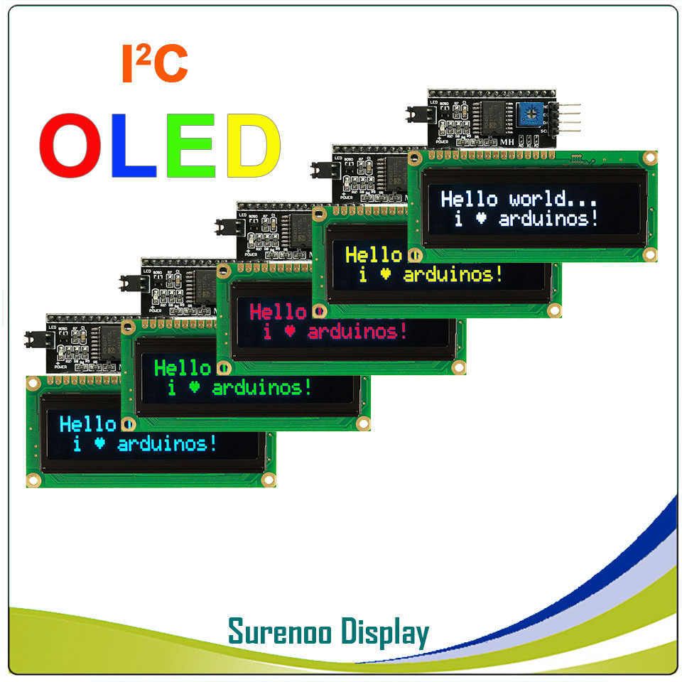 Real OLED Display, IIC/I2C/TWI 1602 162 16*2 Serial Character LCD Module Display Screen LCM