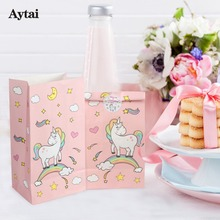 Aytai 12pcs Unicorn Party Pungă de hârtie roz, cu autocolant cadou pentru copii Bomboane de bomboane Baby Shower Birthday Unicorn Tema Party Favorit