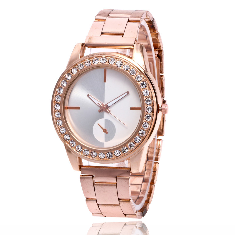 New Stainless Steel Bracelet Dial Business Quartz Watch Luxury Rhinestone Watch Men Women Fashion Wrist Watch For Dropshipping