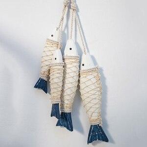 Кулон в средиземноморском стиле, украшение из дерева, Морской Декор, резьба по дереву, настенные Декорации для рыбы, украшения для дома на ст...