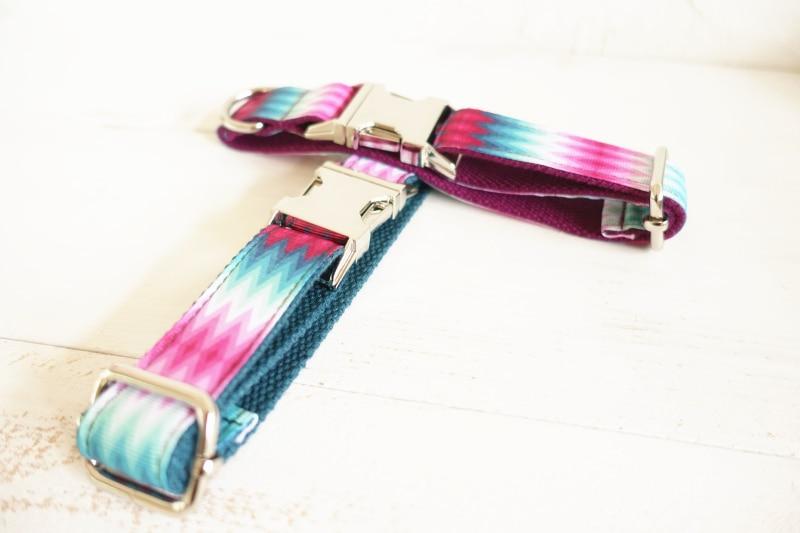 MUTTCO ritel desain khusus diri anjing kerah PURPLE PEACOCK stripe 5 - Produk hewan peliharaan - Foto 2