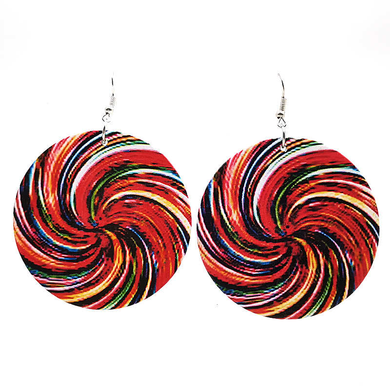 YD&YDBZ New Spiral Printing Earrings For Women Big Round Drop Earrings Wood Material Dizziness Jewelry A pair Of Earrings Gifts