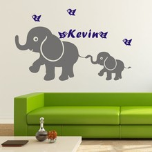 Cartoon Personalized Name Elephant  Mom and kids Wall Decal Kids Nursery Room Decor vinyl sticker for baby KW-174
