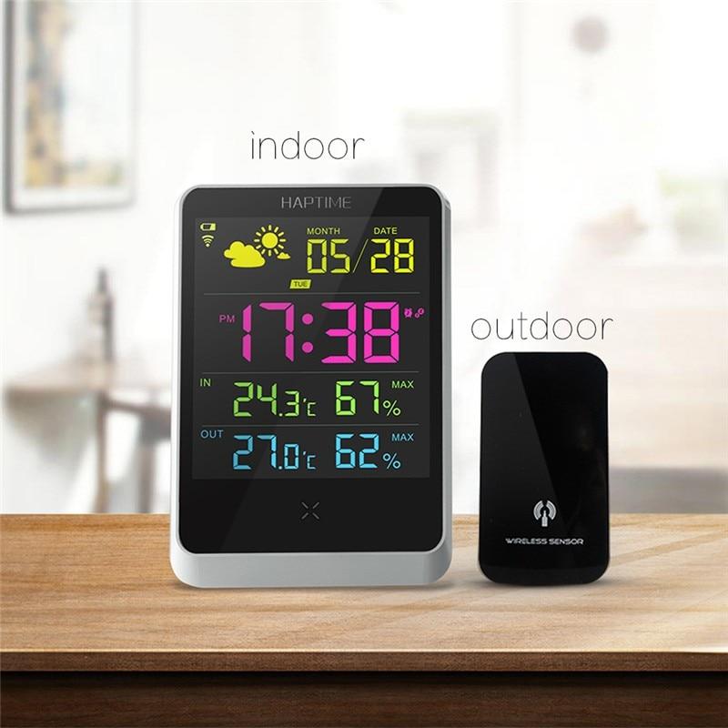 Weather Forecast Station Clock LCD Screen Digital Wireless Sensors Indoor Outdoor Temperature Humidity Date Display Alarm Clock weather station digital lcd temperature humidity meter