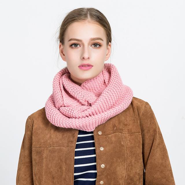 8b79aa34246 US $4.6 |Winter Women Scarf Pure Color Wool Knit Collar Set Head Scarves  Girl's Knitted Warm Comfortable Circle Wool Scarf Shawl Wrap-in Women's ...