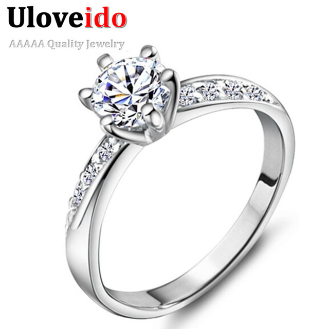 Uloveido Fashion Engagement Silver Color Ring Women Rings Jewelry Bague En or Mariage 2017 Promotional Products Wholesale J048