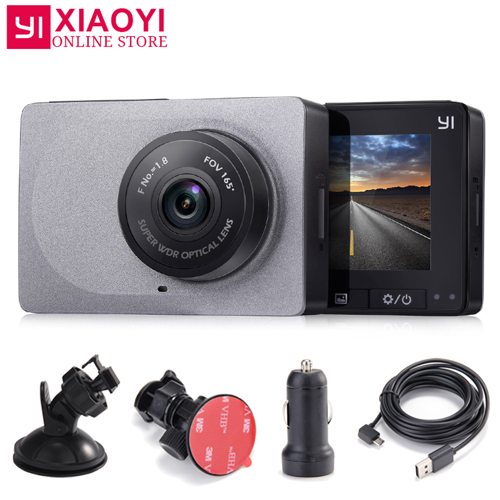 Yi câmera traço inteligente 165 graus 1080 p 60fps carro dvr detector 2.7
