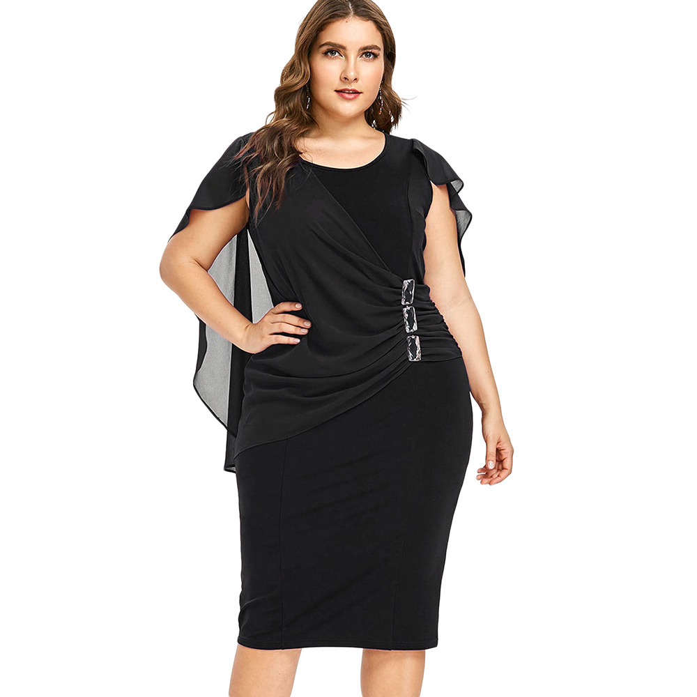 e7d2e28a3aac6 Wipalo Plus Size Rhinestone Ruched Embellished Capelet Dress Summer O Neck  Sleeveless Women Dresses OL Party