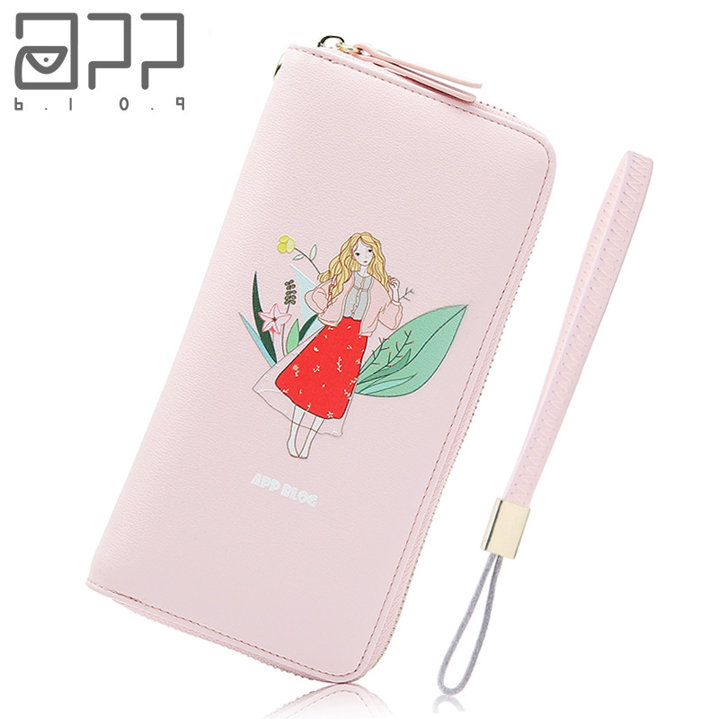 APP BLOG Brand Cartoon Flower Fairy Women Wallet Original Design Long 2018 Fashion Clutch Leather Coin Purse Phone Key Card Bag