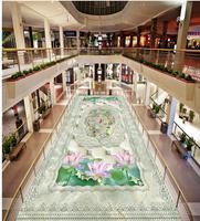 Home Decoration 3D Lotus Carp 3D Marble Bathroom Kitchen Floor Pvc Wallpaper 3d Waterproof Wall Murals
