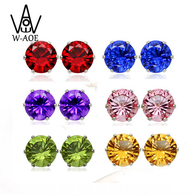 2018 New Fashion Jewelry Silver Color Colorful Crystal Stud Earrings For Women Girl Wedding Earring With Zircon Party Gift