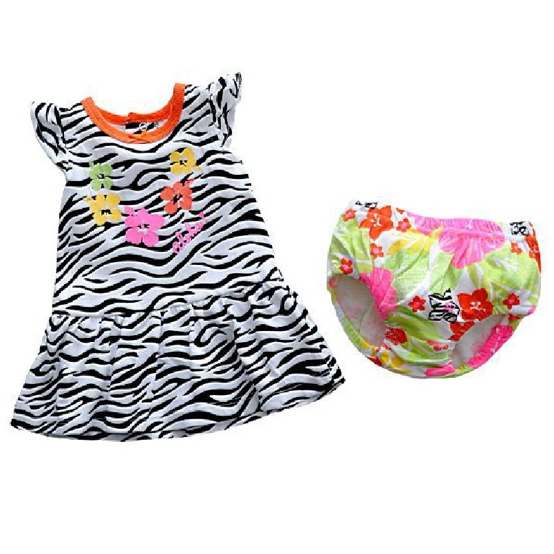 Zebra Baby Girls Dresses Baby girl Clothes Sets sleeve dress baby girl clothing bebe underpant