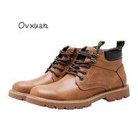 Ovxuan Разделение кожа полусапожки «Martin» Для мужчин британский стиль Винтаж повседневные ботинки Homme 2017 открытый боевой Сапоги и ботинки для д...