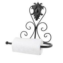 Rollo de papel toalla de tejido de hierro clásico de diseño clásico soporte de luz de pared para baño soporte de montaje percha superficie antioxidante