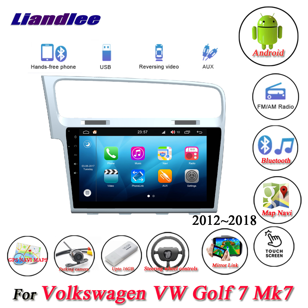 Liandlee For Volkswagen VW Golf 7 Mk7 <font><b>Golf7</b></font> Stereo Car Radio Camera Wifi BT GPS Map Navi Navigation Android System NO DVD Player image