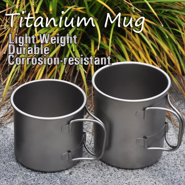 Ti-time Outdoor Camping Cooking Titanium Kettle Cup Pot Mug Double Layer/Single Layer 220ML/300ML/350ML/450ML (One Piece)