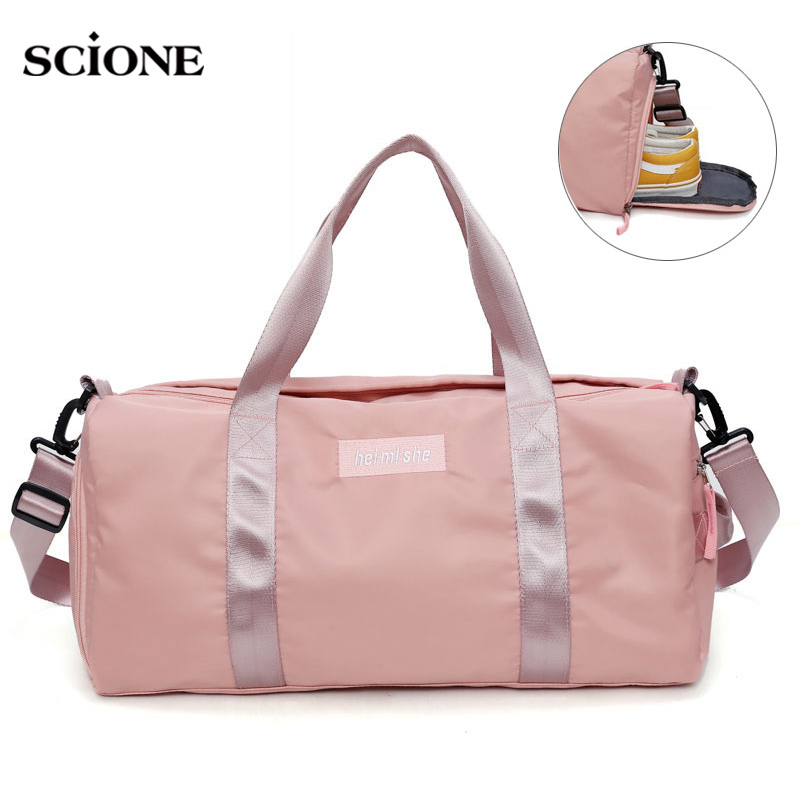 fb31c63bcf20 Swimming Yoga Fitness Gym Bags Dry Wet Bag Handbags For Women Shoes Travel  Training Waterproof Pink Pool Beach Duffel XA545WA