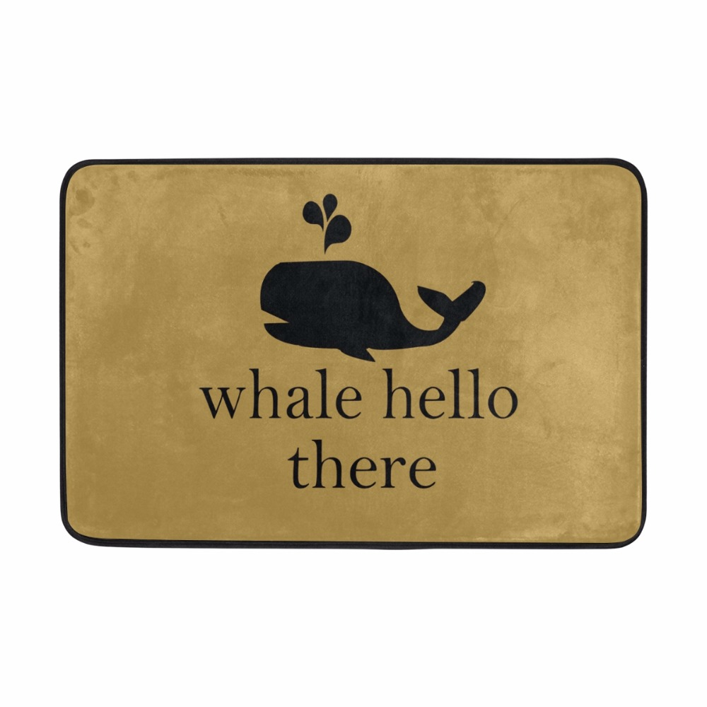 Welcome Floor Mats Personality Design Cute Tiny Whale Anti-Slip Suede Carpet Door Mat Ou ...