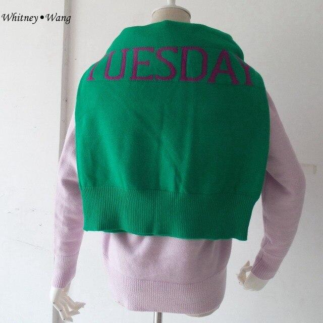 Whitney Wang 2017 primavera moda streetwear Rainbow semana letras suéter mujeres Jerséis pull Femme puente