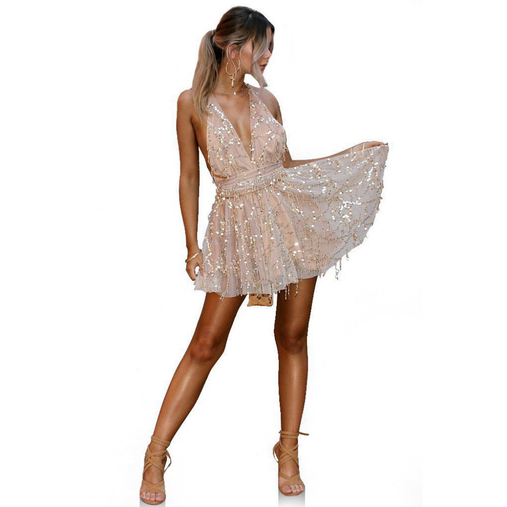 Sexy Deep V Qafa Shining Dress Sequined Dress Halter Tie Straps Cross - Veshje për femra - Foto 2