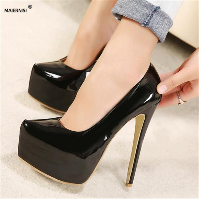 MAIERNISI Plus:35-44 Hot sale zapatos mujer 15cm thin heels Patent leather platform wedding shoes woman sexy Crossdresser pumps cdts 35 45 46 summer zapatos mujer peep toe sandals 15cm thin high heels flowers crystal platform sexy woman shoes wedding pumps